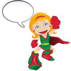 Super hero Girl with Speech Bubble