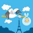Cute stork carrying a newborn baby for delivery