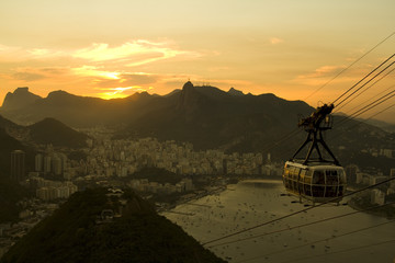 cable cars sunset