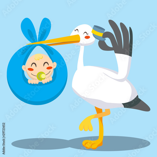 Stork with hat carrying a newborn baby boy