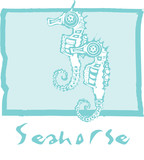 Seahorses in Blue poster