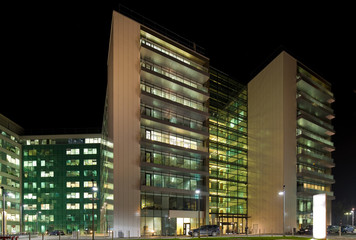 Night view of office buildings