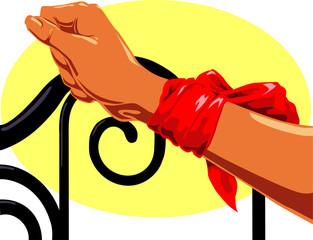 Bound wrist, iron headboard, silk scarf