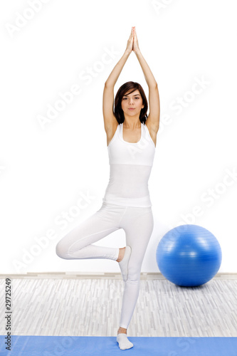 Woman making yoga exercise