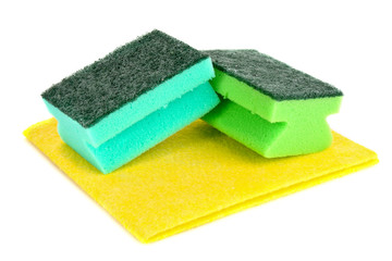 cleaning sponges isolated on white