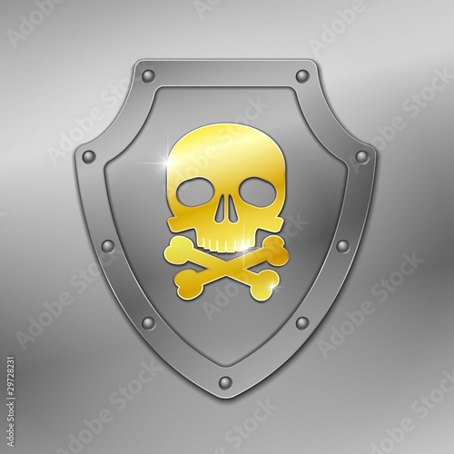 Shield with skull. Vector.