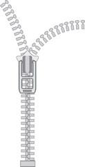 Vector zipper on white