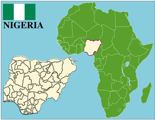Nigeria emblem map africa world business success background