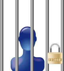 Blue person in prison