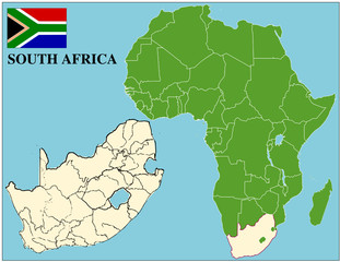 South Africa emblem map africa world business success background