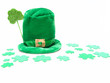 St Patrick's Day hat and shamrock confetti