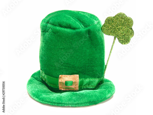 A single St Patricks Day hat isolated on white