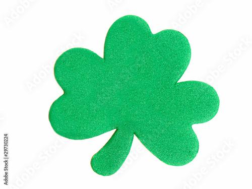 A single, textured St Patrick's Day shamrock