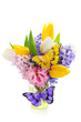 Beautiful spring flowers with decorative butterflies isolated on