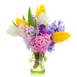 Beautiful spring flowers  isolated on white background(crocus, h