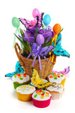 Easter arrangement with crocuses, cupcakes, butterflies and eggs
