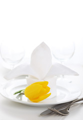 White napkin with tulip on white plate-Spring time