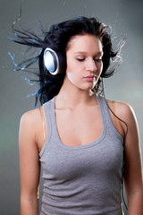 girl enjoys music