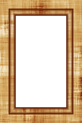 Vertical wood frame isolated over white background