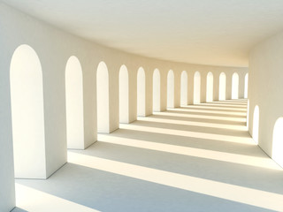 Colonnade in warm tones with deep shadows. Illustartion © Roman Antoschuk