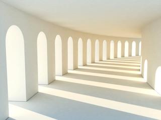 Colonnade in warm tones with deep shadows. Illustartion © Roman Antoschuk
