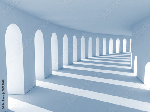 Blue colonnade with deep shadows. Illustration
