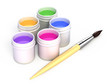 Color paint for drawing and painbrush