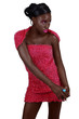 African woman in pink