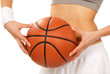 Basketball in beautiful woman player hands