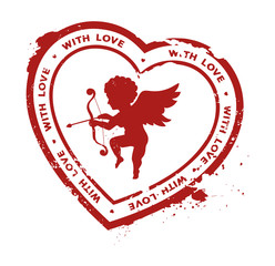 rubber stamp with cupid silhouette