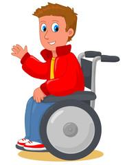 Ragazzo felice in sedia a rotelle
