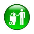 Boton brillante contenedor basura