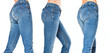 female legs in a blue jeans