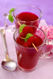 clear beet soup in glass