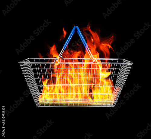 Fire inside shopping basket
