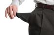 Bankrupt man showing empty pocket