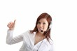 young woman with headset and thumb up (white background)