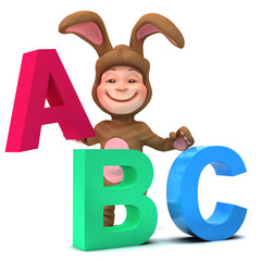 3d Child dressed as Easter bunny learns the Alphabet