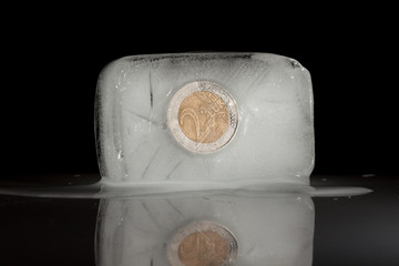 Frozen two euro coin