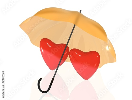 Two hearts under umbrella