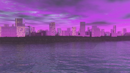 Die Stadtsilhoutte vor der lilanen Atmosphäre