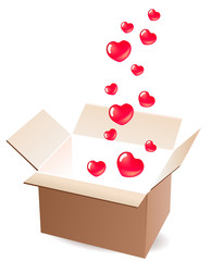Empty open box with small red hearts