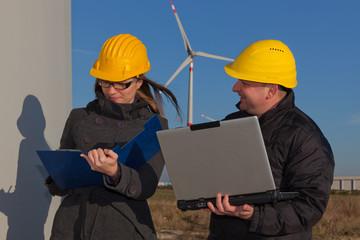Technician Engineers in Wind Turbine Power Generator Station