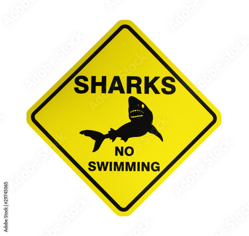 Sharks - No swimming, Australisches Schild - isoliert