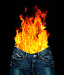 Denim jeans and fire