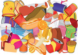 Background. A foodstuff and banks, glasses poster