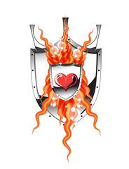 Heart flame shield