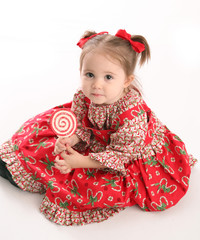Cute little girl in Christmas wear