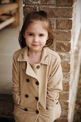 Fall portrait of cute preschool girl