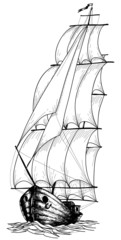 Vintage sailboat sketch